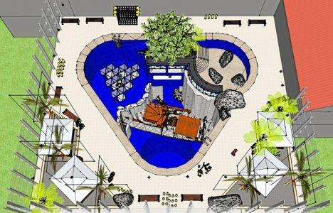 """Dykkercentrets """"vandland"""" med bassinerne med de forskellige dybder. Skitse: Pangea"""