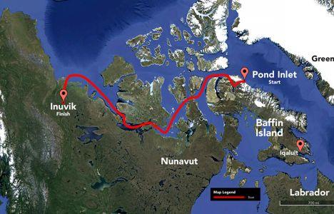 3000 kilometer fra Pond Inlet til Inuvik.